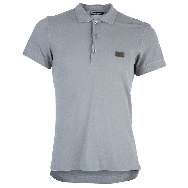 Dolce and Gabbana Men's Grey Cotton Polo Shirt M