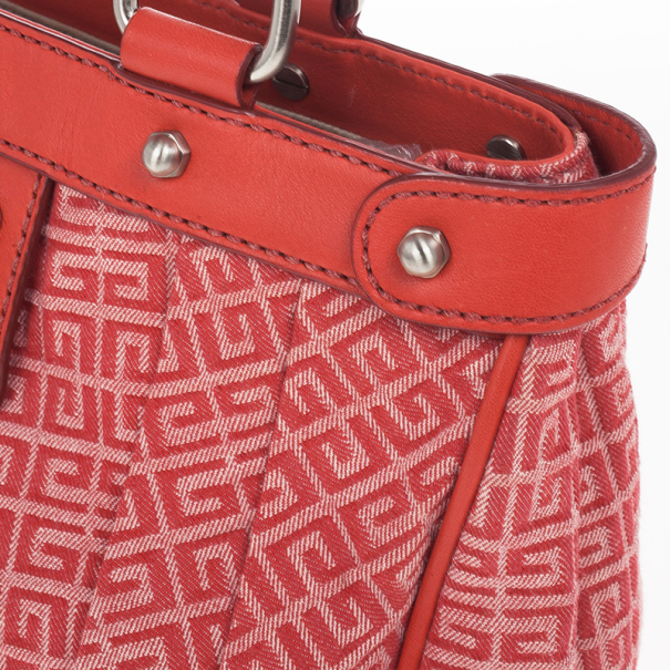 Givenchy Red Canvas Monogram and Leather Satchel