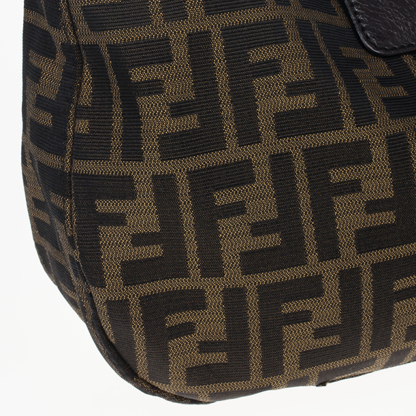 Fendi Tobacco Zucca Canvas Double Buckle Hobo Bag