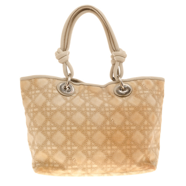 Dior Cream Coated Canvas Cherie Tote Bag