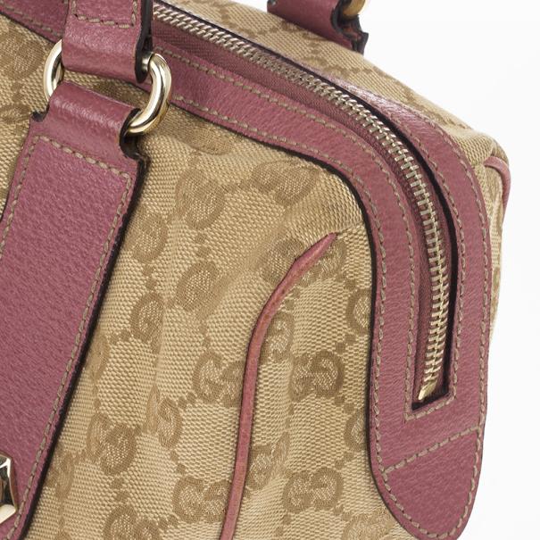 Gucci GG Pink Trim Charmy Satchel