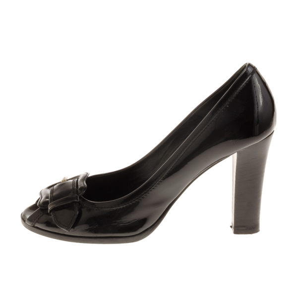 Fendi Black Patent B Buckle Peep Toe Pumps Size 39