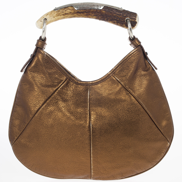 Yves Saint Laurent Bronze Leather Mini Mombasa Hobo