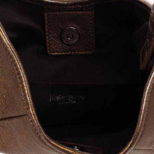 Yves Saint Laurent Bronze Leather Mini Mombasa Hobo