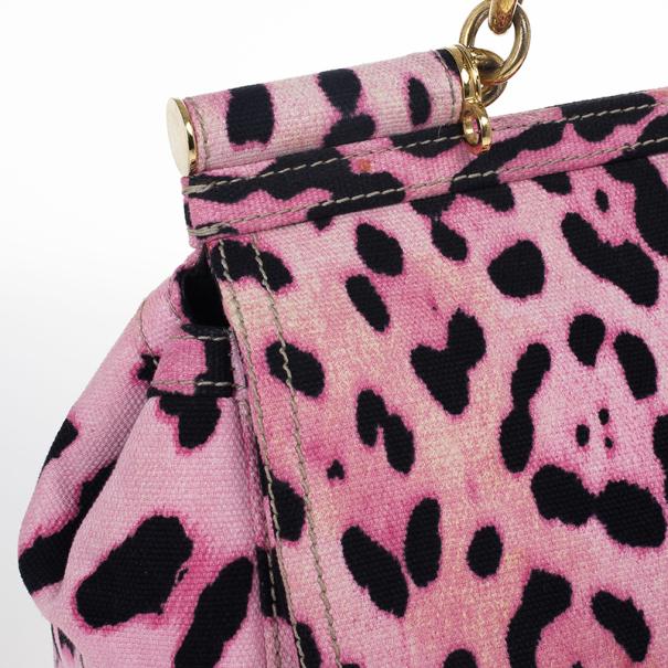 Dolce and Gabbana Pink Leopard Canvas Miss Sicily Satchel