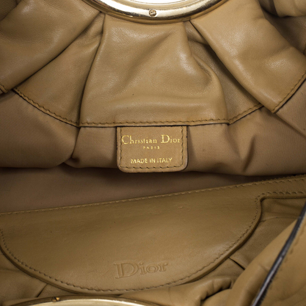 Dior Camel Leather Babe Bag with Clutch