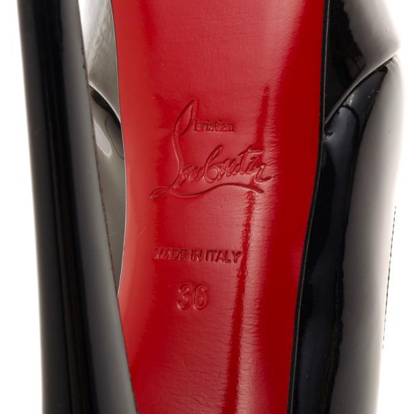 Christian Louboutin Blue Patent Bianca Platform Pumps Size 36