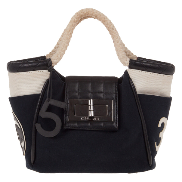 Chanel Black Canvas Cruise Rope Cabas Tote