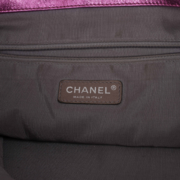 Chanel Metallic Pink Cracked Calfskin Leather Modern Chain Large Tote Bag