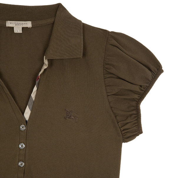 Burberry Brown Check Placket Polo Top L