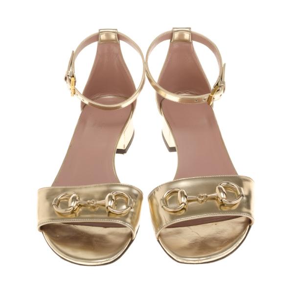 Gucci Gold Horsebit Detail Ankle Strap Sandals Size 36.5