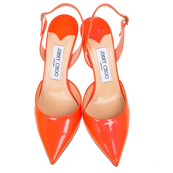 Jimmy Choo Orange Patent Tilly Slingback Sandals Size 37