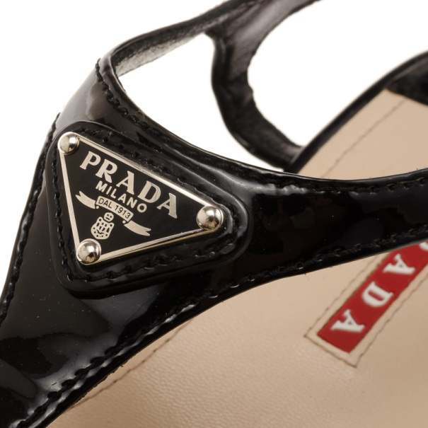 Prada Sport Black Patent Leather Bow Wedges Size 37.5