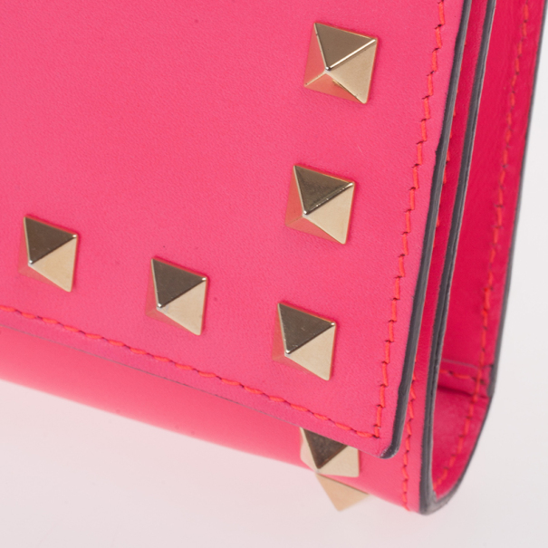 Valentino Fuchsia Leather Rockstud Flap Wallet