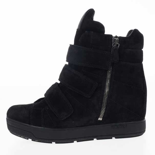 Prada Sport Black Suede Wedge Hi-Top Sneakers Size 37.5