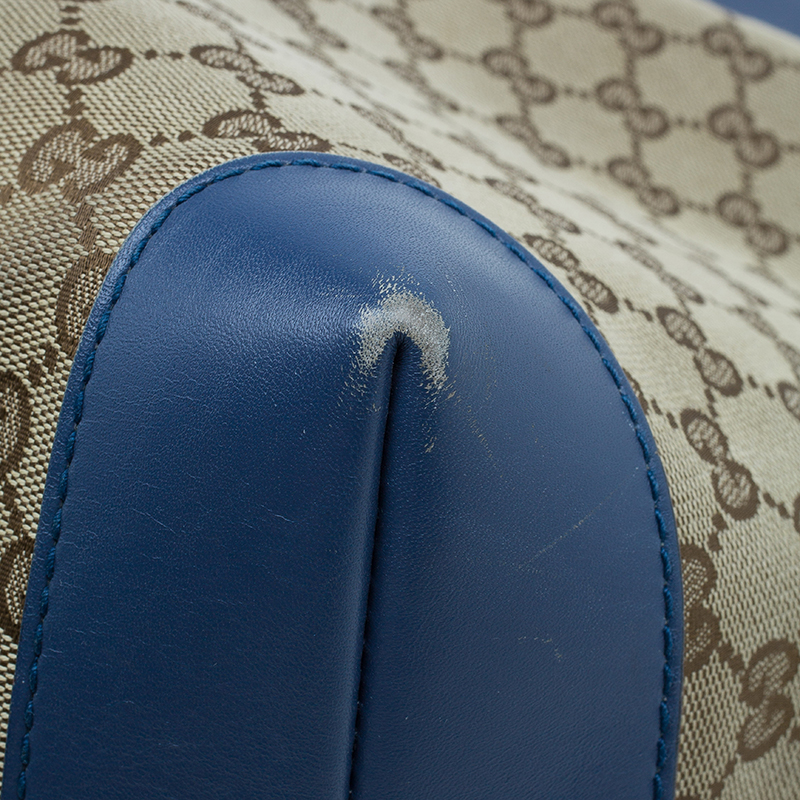 Gucci Beige/Blue Canvas Large Craft Original GG Tote with Pouch