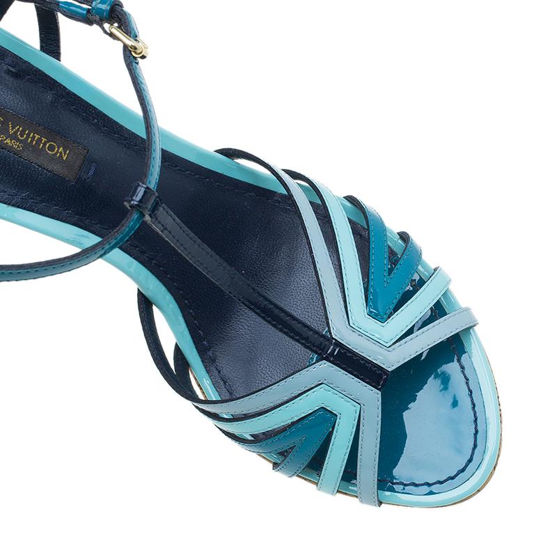 Louis Vuitton Blue Patent Leather Summertime Cork Wedges Size 37