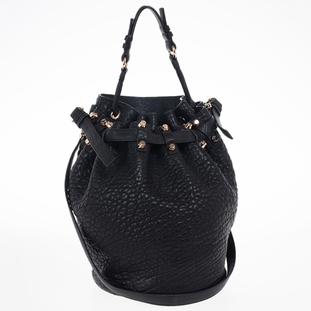 Alexander Wang Black Diego Textured-Leather Bucket Bag