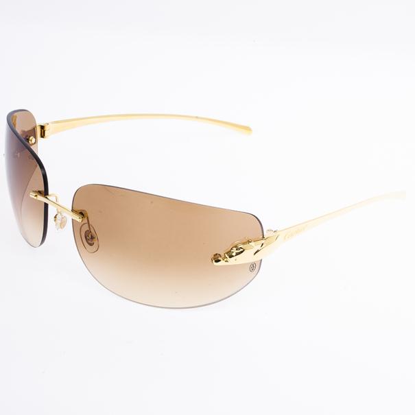 Cartier Gold Panthere De Cartier Shield Sunglasses