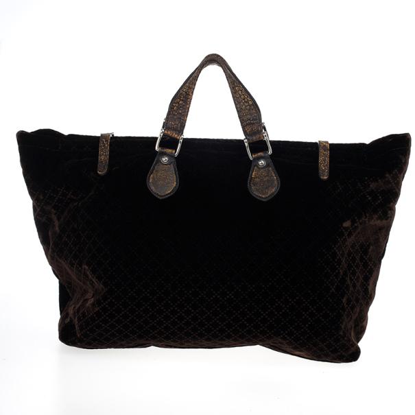 Gucci Brown Goldmark Velvet Diamante Carryon Duffle Bag