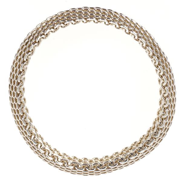Tiffany & Co. Somerset Narrow Silver Bangle Women 18CM