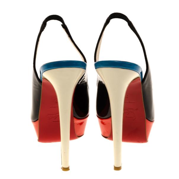 Christian Louboutin Tricolore Bianca Platform Slingback Sandals Size 36