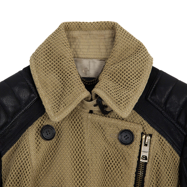 Burberry Leather Sleeve Cotton Crochet Jacket M