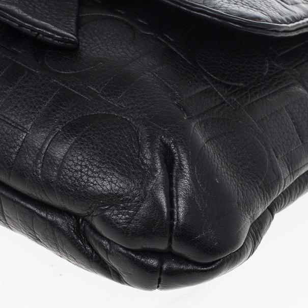 Carolina Herrera 'Audrey' Black Monogram Embossed Bag