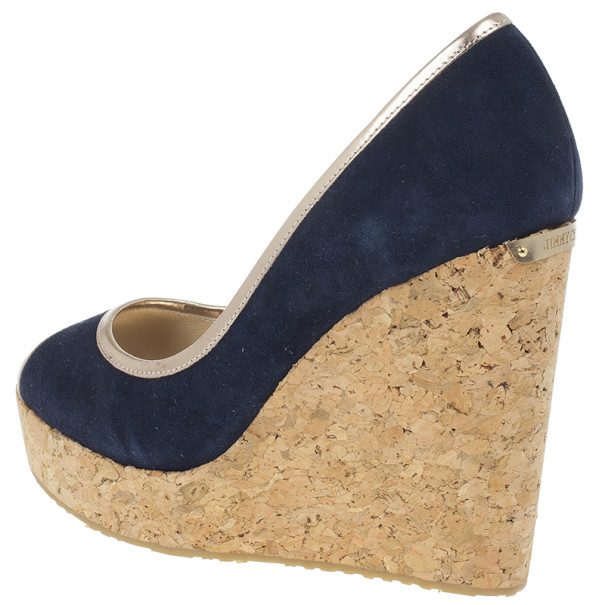 Jimmy Choo Blue & Gold Suede Peep Toe 'Papina' Cork Platform Wedges Size 39.5