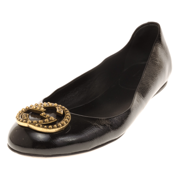 Gucci Black Patent GG Studded Ballet Flats Size 38