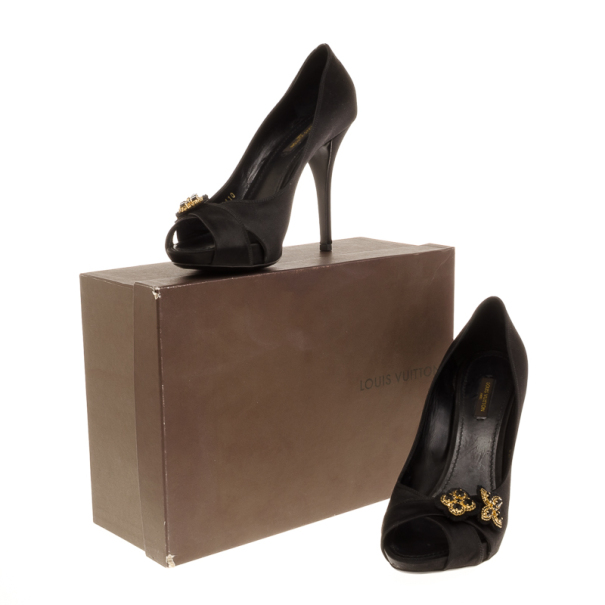 Louis Vuitton Black Satin Athen Open Toe Pumps Size 40