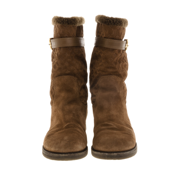 Louis Vuitton Brown Suede Wintry Half Boots Size 40
