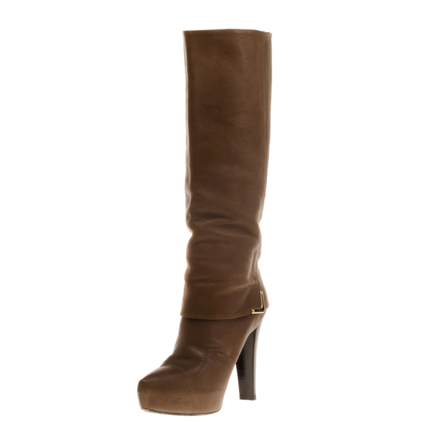 Louis Vuitton Brown Leather Queen Mid Calf Boots Size 39.5