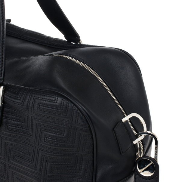 Versace Black Leather Trapuntato Duffle Travel Bag