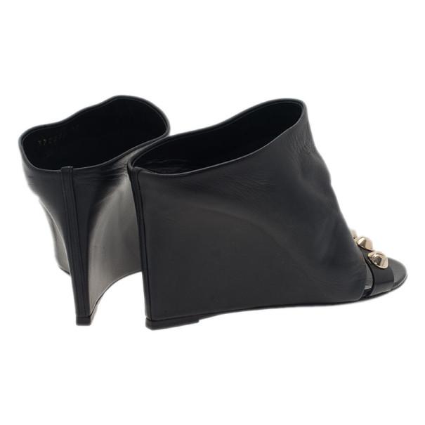 Balenciaga Black Leather Arena Studded Leather Mules Size 37