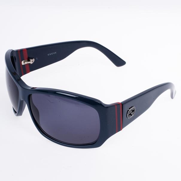 Gucci Navy GG Web Detail Sunglasses