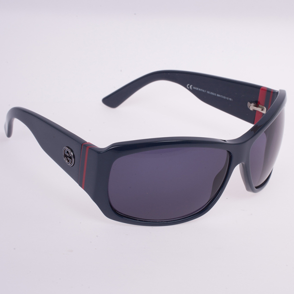 Gucci Navy GG Web Detail Sunglasses