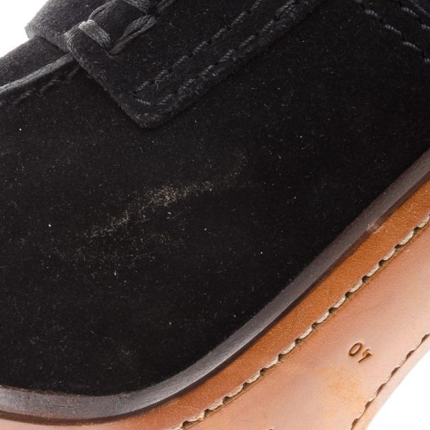 Celine Black Suede Loafer Platform Pumps Size 40