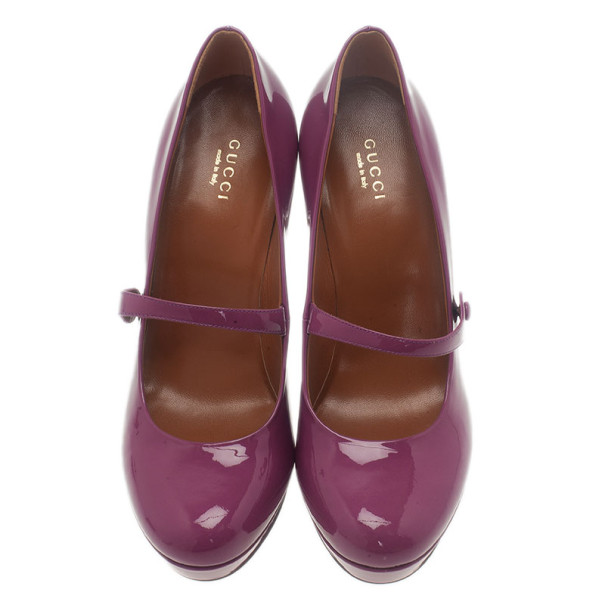 Gucci Purple Patent Betty Mary Jane Platform Pumps Size 38.5