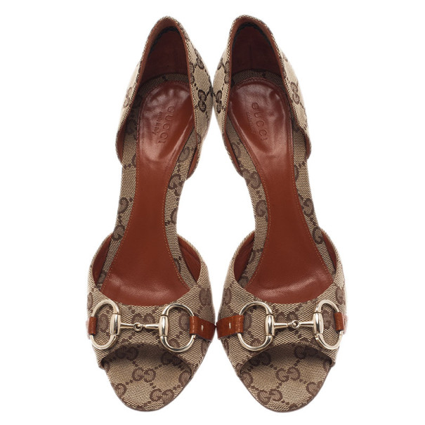 Gucci GG Canvas Hollywood Horsebit D'orsay Pumps Size 38