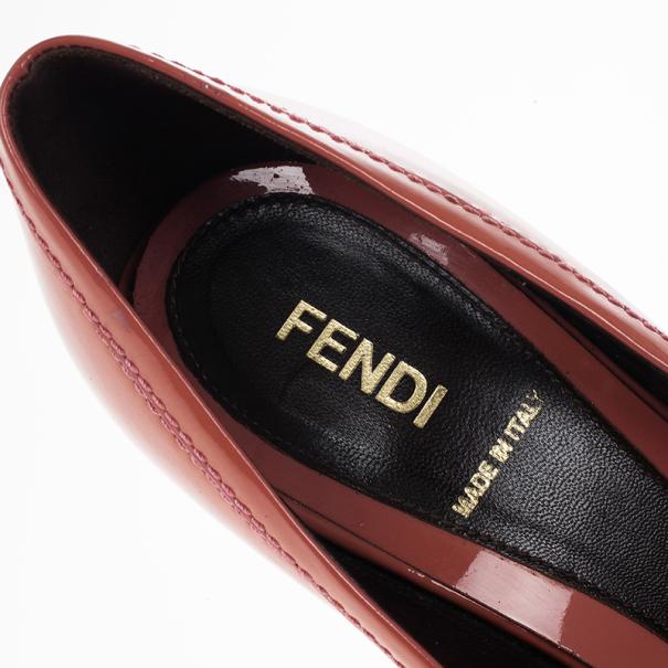 Fendi Coral Patent B Buckle Pumps Size 38