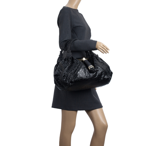 Fendi Black Patent Leather Crispe Spy Bag