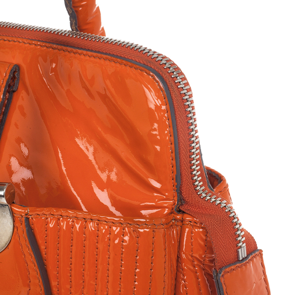 Chloe Orange Patent Leather 'Heloise' Quilted Tote