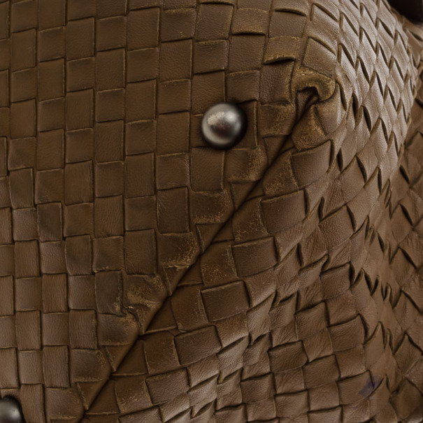 Bottega Veneta Intreciato Brown Top Handle Bag