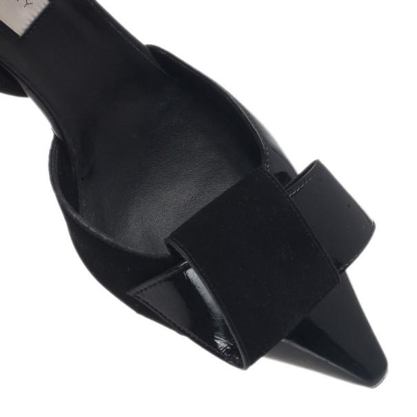 Stella McCartney Black Patent Slingback Sandals Size 37.5