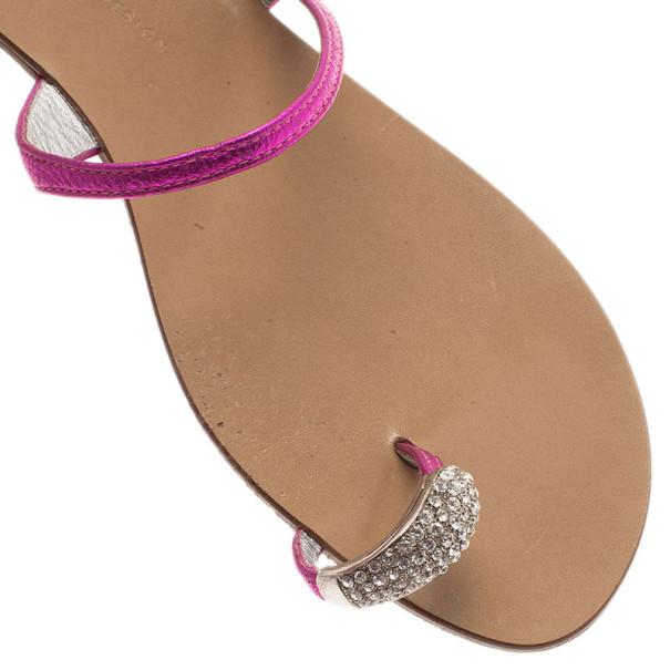 Giuseppe Zanotti Shocking Pink Toe Ring Sandals Size 41
