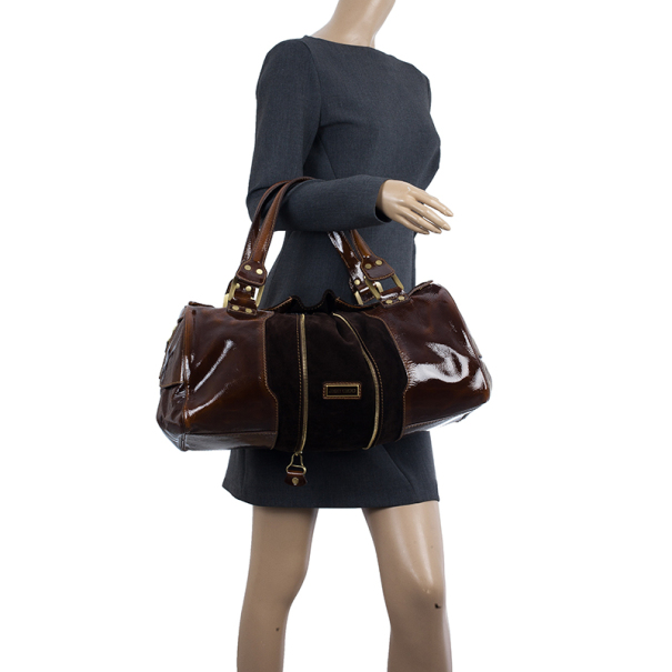 Jimmy Choo Liquid Patent and Suede Large Marla Bag