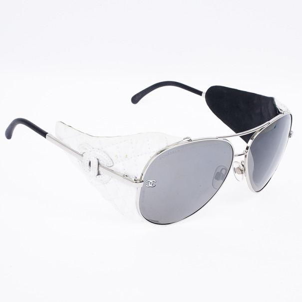 Chanel White Leather 4192Q Woman Aviators