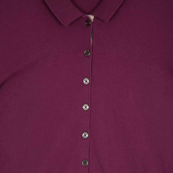 Burberry Pink Check Placket Polo Shirt L