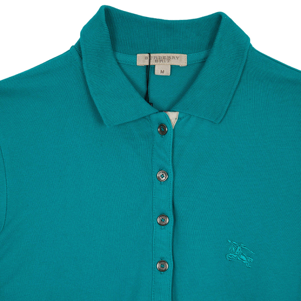 Burberry Turquoise Check Placket Polo Shirt M